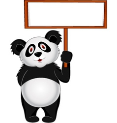 Panda Cartoon with banner vector image vector image