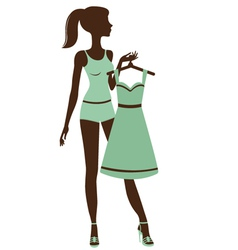 Pretty girl getting dressed vector image vector image