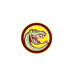 Rattle snake head circle cartoon vector