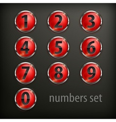 Red round buttons with number vector image