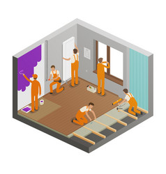 Repairing flat concept construction work vector