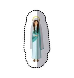 Sticker figure human of saint virgin maria vector