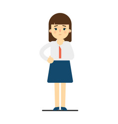 Thinking young woman in uniform character vector