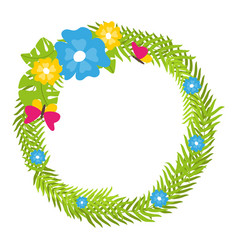 Tropical floral wreath with butterflies and blooms vector