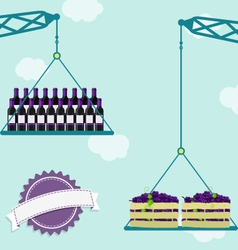 Crane with grapes and wine vector