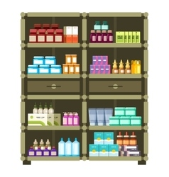 Pharmacy shelves with medical box and bottles for vector