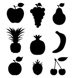 Silhouettes of fruit vector