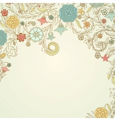 Vintage background with doodle flowers vector image