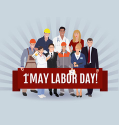 Labor day greeting  people group vector