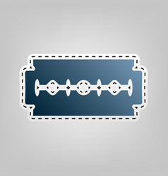 Razor blade sign blue icon with outline vector