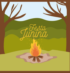 Colorful poster festa junina with background vector