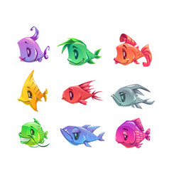 Fanny cartoon colorful fishes set vector