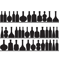 Bottles on shelves vector