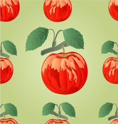Seamless texture red apple with green leaves vector