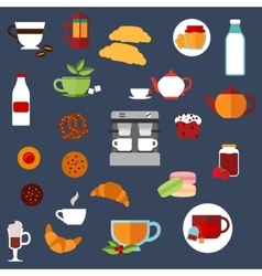 Breakfast food and drinks menu flat icons vector