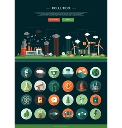 Flat design ecological icons with header and vector