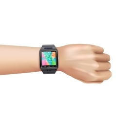 Smart Watch Realistic On Hand vector image