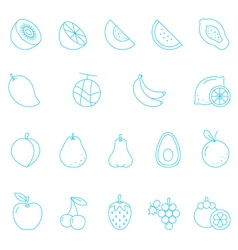 Thin lines icon set - fruit vector