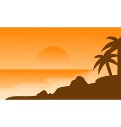 Beach landscape of silhouette on orange vector