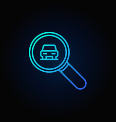 blue magnifying glass with a car icon vector image