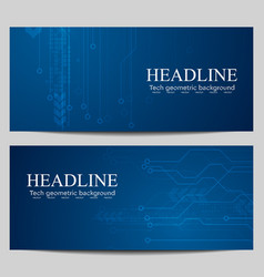 Blue tech banners with circuit board design vector