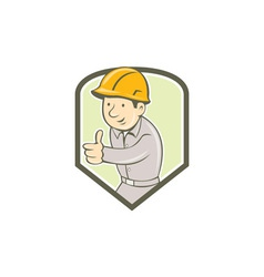 Builder construction worker thumbs up circle vector
