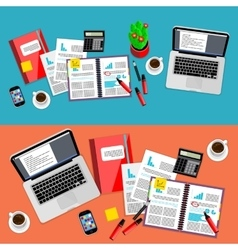 Business office workspace background set vector image vector image