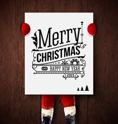 Christmas card Santa is holding a poster with vector image