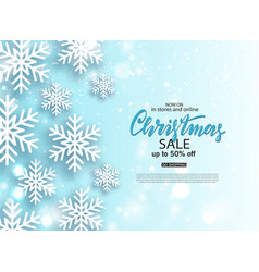 christmas sale poster with shiny snowflake vector image
