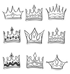 collection stock crown various doodles vector image vector image