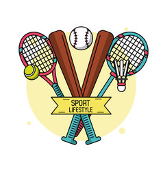 Colorful poster of sport lifestyle with baseball vector
