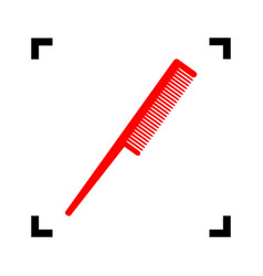 Comb sign red icon inside black focus vector