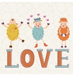 Cute Valentines day card with word love and cute vector image