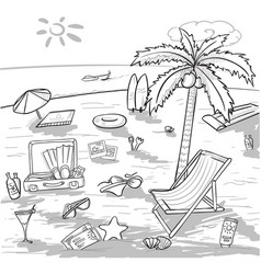 doodle beach vacation concept vector image