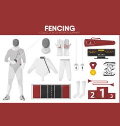 fencing sport equipment swordsman fencer garment vector image vector image