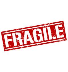 Fragile square grunge stamp vector