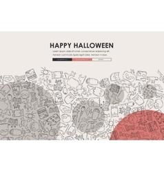 Halloween Doodle Website Template Design vector image vector image