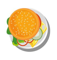 Hamburger above view vector