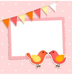 Holiday card with festive flags and birds vector image