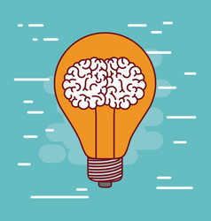light bulb silhouette with brain inside and vector image vector image