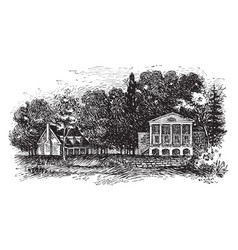 Monroes residence at oak hill va vintage vector
