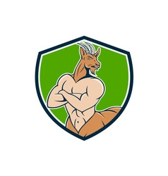 Pan faun satyr crest cartoon vector