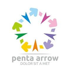 Penta arrow colorful design icon symbol vector