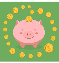 Piggy bank surrounded by money vector