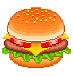 Pixel hamburger isolated vector image vector image