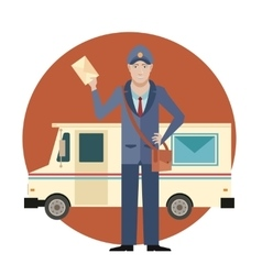 Postman and his Car vector image