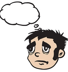 sad boy with thought bubble vector image vector image
