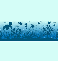 seamless underwater background with fish vector image vector image