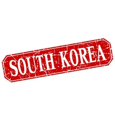 South Korea red square grunge retro style sign vector image vector image