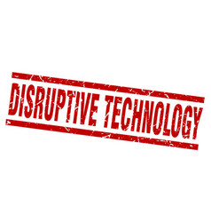 Square grunge red disruptive technology stamp vector